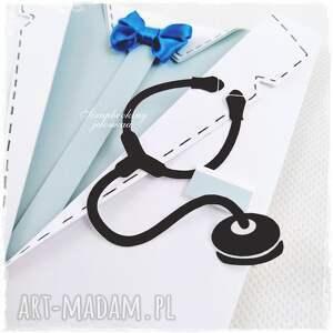niebieskie doktor fartuch lekarski - kartka dla niego