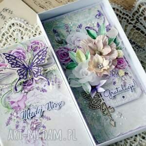 fioletowe scrapbooking kartki ślub gratulacje dla młodej pary - kartka