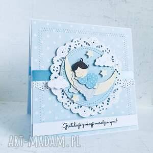 białe scrapbooking kartki narodziny gratulacje z okazji narodzin