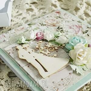 ślub scrapbooking kartki różowe kartka ślubna w pudełku, 155