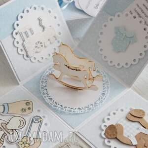 scrapbooking kartki narodziny pudełko - kartka na chrzest lub