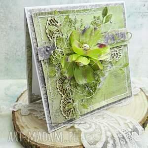 imieniny scrapbooking kartki zielone imieninowa kartka w pudełku