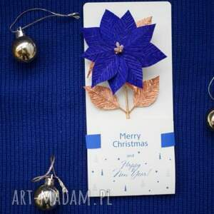 pomysł na prezenty świąteczne prezent paper flowers blue christmas cards
