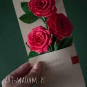 czerwone scrapbooking kartki prezent karteczki 3d na urodzinowy