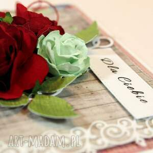 gustowne scrapbooking kartki kartka czerwone róże