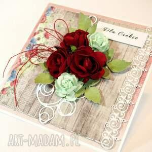 beżowe scrapbooking kartki kartka czerwone róże
