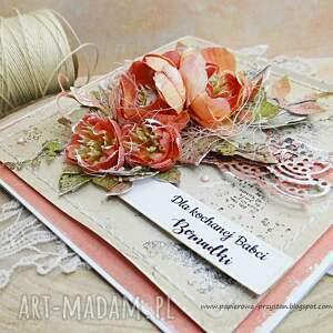 beżowe scrapbooking kartki kartka-dla-babci kartka dla babci w pudełku