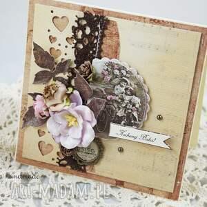 kartka scrapbooking kartki brązowe dla babci