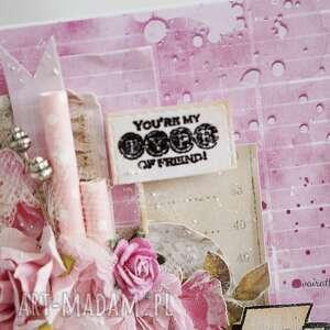 kartka scrapbooking kartki różowe dla przyjaciela