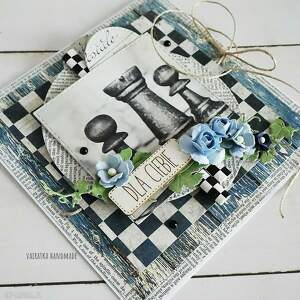 niebieskie scrapbooking kartki urodziny kartka dla szachisty, 482