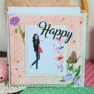 kartka scrapbooking kartki różowe - happy (2 )