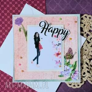 białe scrapbooking kartki szczęśliwa kartka - happy (2 )