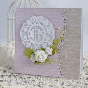 różowe scrapbooking kartki kartka komunijna z pudełkiem