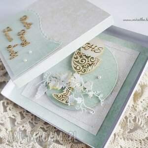 turkusowe scrapbooking kartki komunia kartka komunijna w pudełku