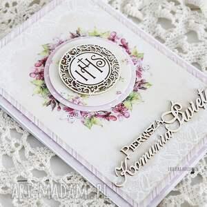 ręcznie wykonane scrapbooking kartki pamiątka kartka komunijna, 442
