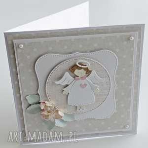 białe scrapbooking kartki chrzest kartka na św. - z aniołkiem