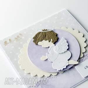 hand made scrapbooking kartki kartka na chrzest św. - z aniołkiem