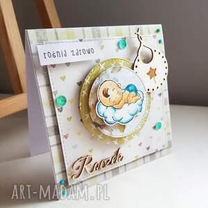 chłopiec scrapbooking kartki turkusowe kartka na roczek ze stemplem