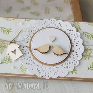zielone scrapbooking kartki ślub kartka na - ptaszki