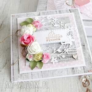 różowe scrapbooking kartki slub kartka na rocznicę urodziny