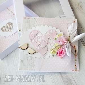 kartka scrapbooking kartki różowe delikatna i pastelowa z okazji ślubu