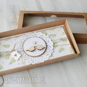 kartka scrapbooking kartki beżowe na ślub - ptaszki