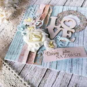 brązowe scrapbooking kartki rustykalna kartka okolicznościowa love