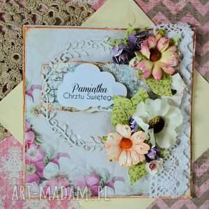 Maly Koziolek scrapbooking kartki: Kartka - Pamiątka Chrztu Świętego (3) - chrzestni dziecko