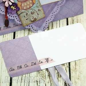 różowe scrapbooking kartki podziękowanie kartka- z piórkiem