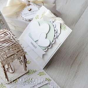 ślub scrapbooking kartki beżowe kartka pudełko