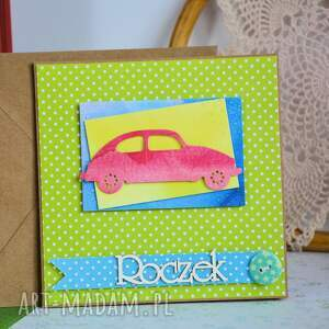 turkusowe scrapbooking kartki samochód sympatyczna kartka idealna na roczek