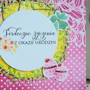 kartka scrapbooking kartki różowe - serdeczne życzenia
