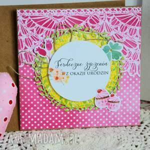 białe scrapbooking kartki urodziny kartka - serdeczne życzenia