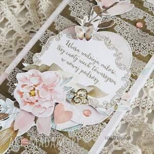 beżowe scrapbooking kartki ślub kartka ślubna, 473