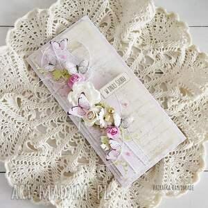 różowe scrapbooking kartki ślub kartka ślubna z motylkami