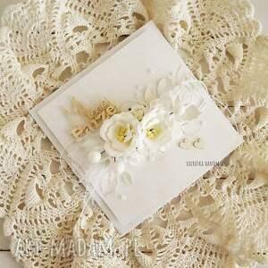 wesele scrapbooking kartki kartka ślubna w bieli, z pudełkiem