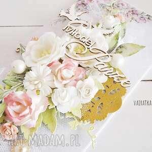 kartka scrapbooking kartki różowe ślubna w pudełku, 603