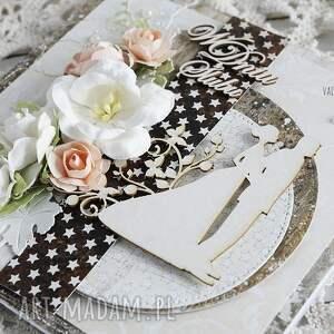 ślub scrapbooking kartki beżowe elegancka kartka ślubna, ozdobiona