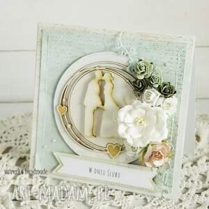 zielone scrapbooking kartki ślub kartka ślubna w pudełku,