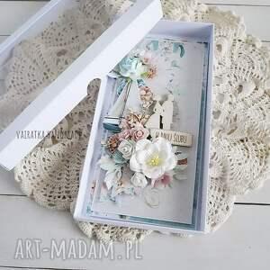 wesele scrapbooking kartki turkusowe kartka ślubna w pudełku, 687