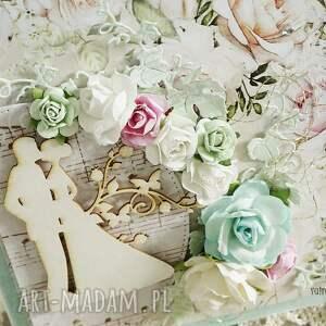 białe scrapbooking kartki kartka-ślubna kartka ślubna w pudełku, 155