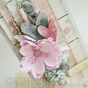 kwiaty scrapbooking kartki kartka ślubna - szary/róż