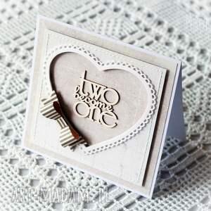 scrapbooking kartki kartka ślubna z szarą kokardą