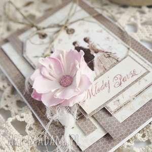 brązowe scrapbooking kartki młodej-parze kartka ślubna