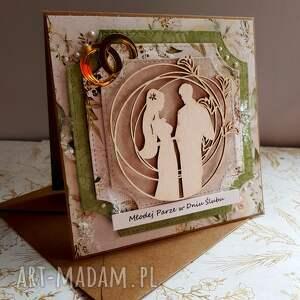 beżowe scrapbooking kartki obrączki kartka ślubna w zieleniach