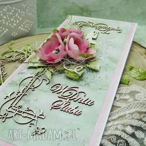 ślub scrapbooking kartki różowe kartka ślubna w pudełku