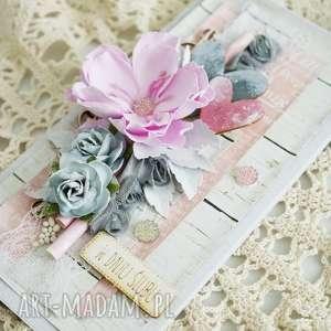 handmade scrapbooking kartki kwiaty kartka ślubna - szary/róż