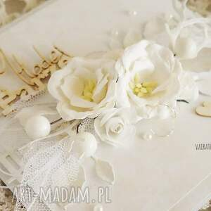 hand-made scrapbooking kartki ślub kartka ślubna w bieli, z pudełkiem