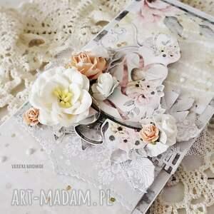 beżowe scrapbooking kartki ślub kartka ślubna w pudełku