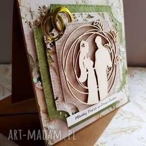scrapbooking kartki ślub kartka ślubna w zieleniach